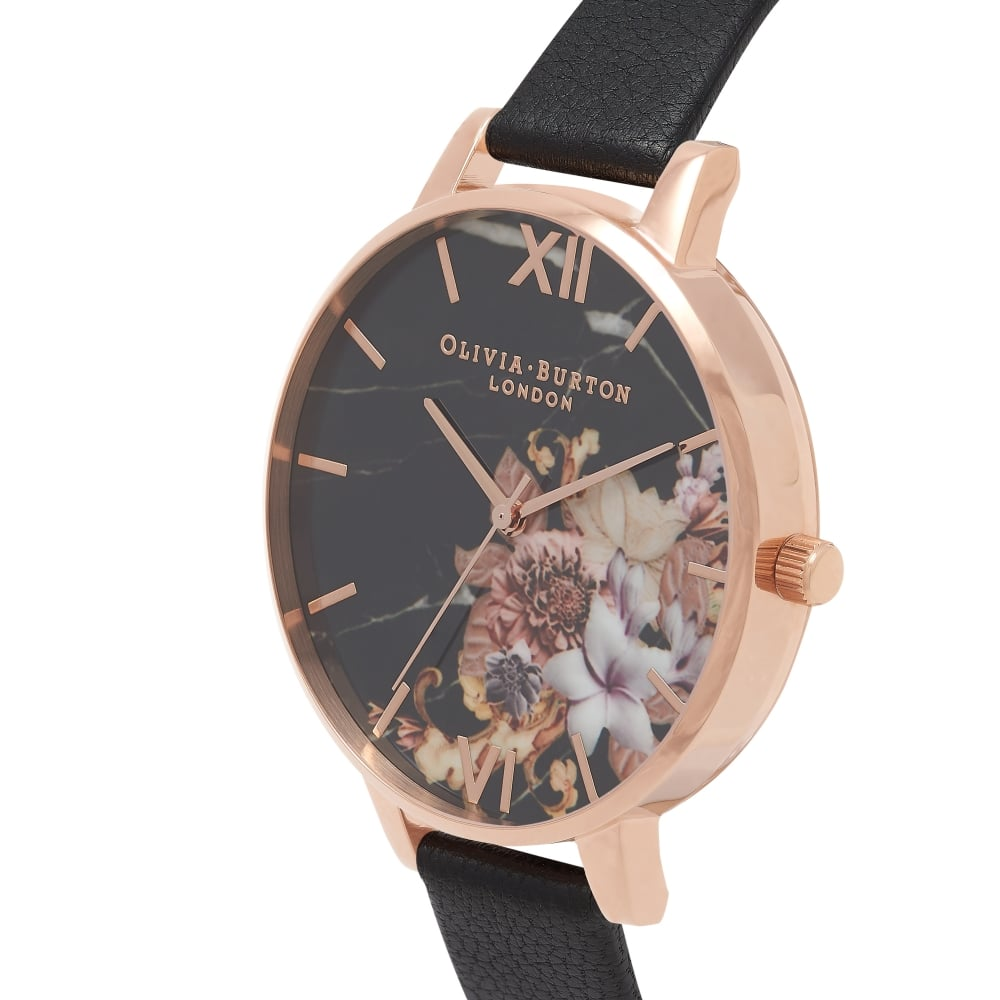 Marble Floral Black And Rose Gold Watch OB16CS01 3c5827ba3434