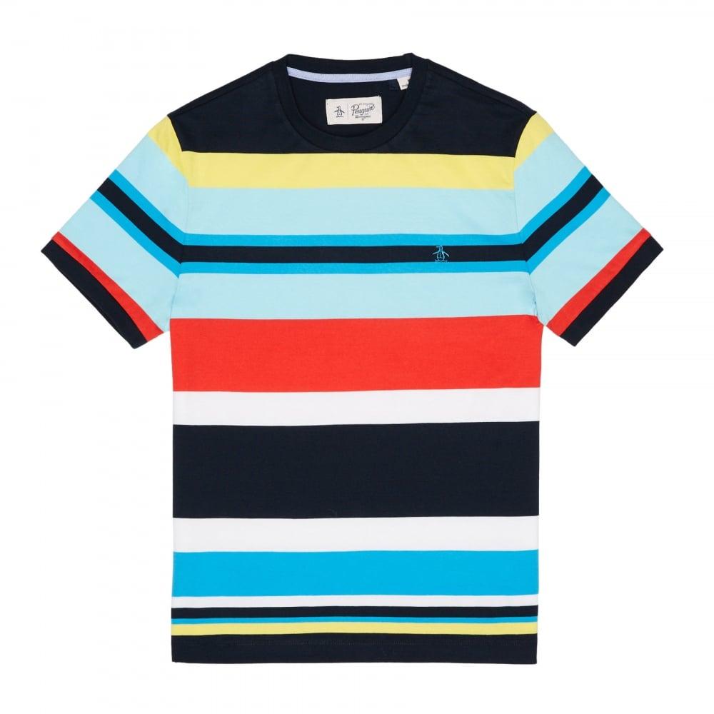a0badb36 Original Penguin Original Penguin Men's Engineered Stripe T Shirt - Dark  Sapphire