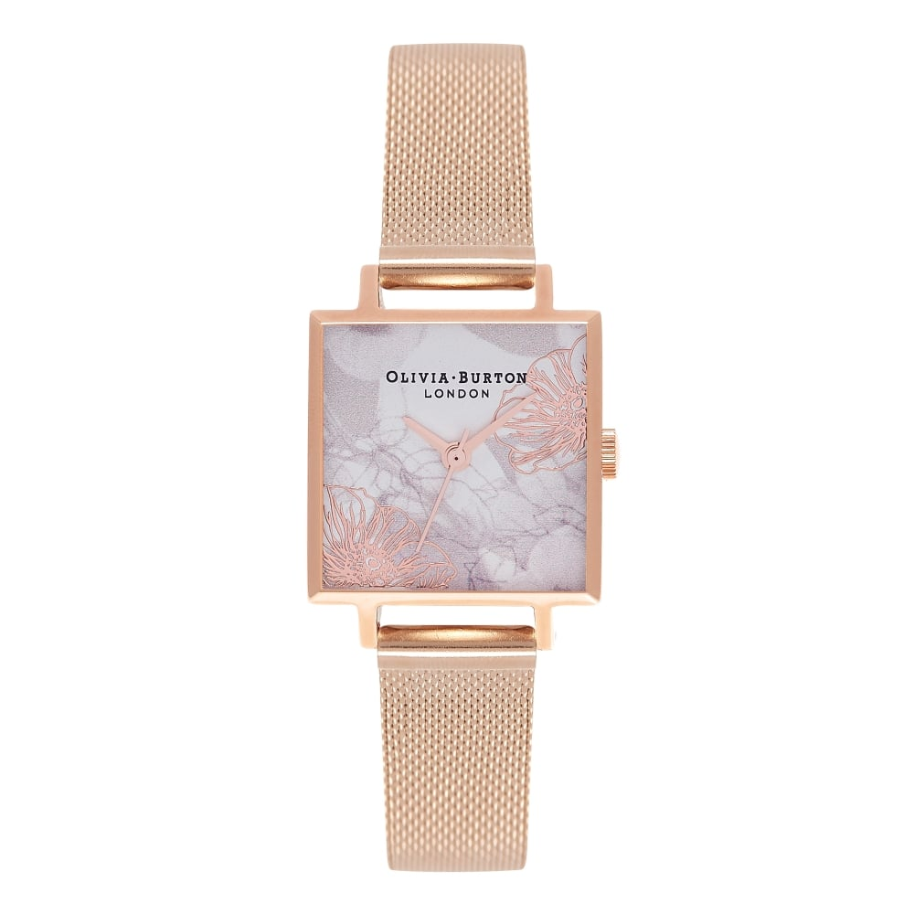 761ad39cd Square Midi Dial Abstract Florals Rose Gold Mesh Watch