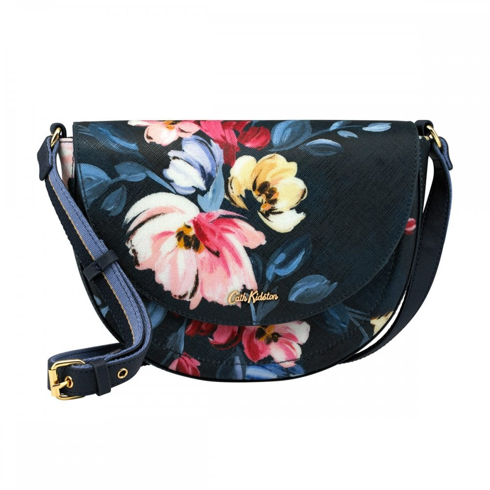 9812500a65 Cath Kidston Paintbox Flowers Stratton Saddle Bag Midnight Blue