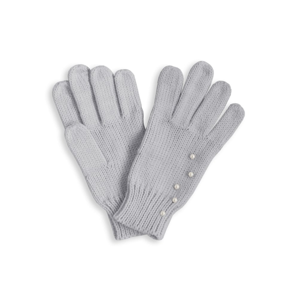 235b28673 Pearl Scattered Cable Knit Gloves - Pale Grey