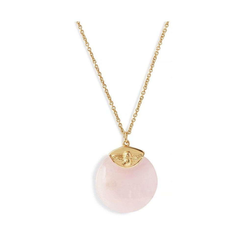 35e2933adc58 Olivia Burton Semi Precious Necklace Gold   Rose Quartz OBJ16AMN40