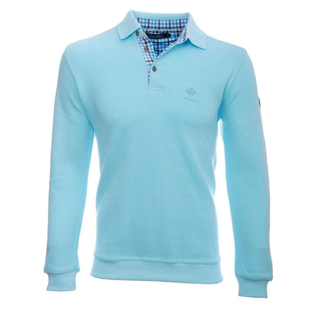 7d408ba6ec533e Ethnic Blue Ethnic Blue Long Sleeve Soft Touch Polo-Shirt