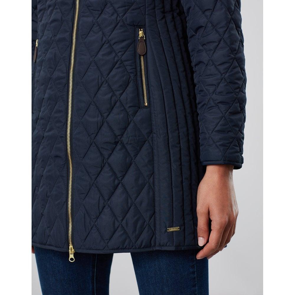 Joules Chatham Longline Jacket Womens Padded Diamond Quilt Detachable Hood Coat