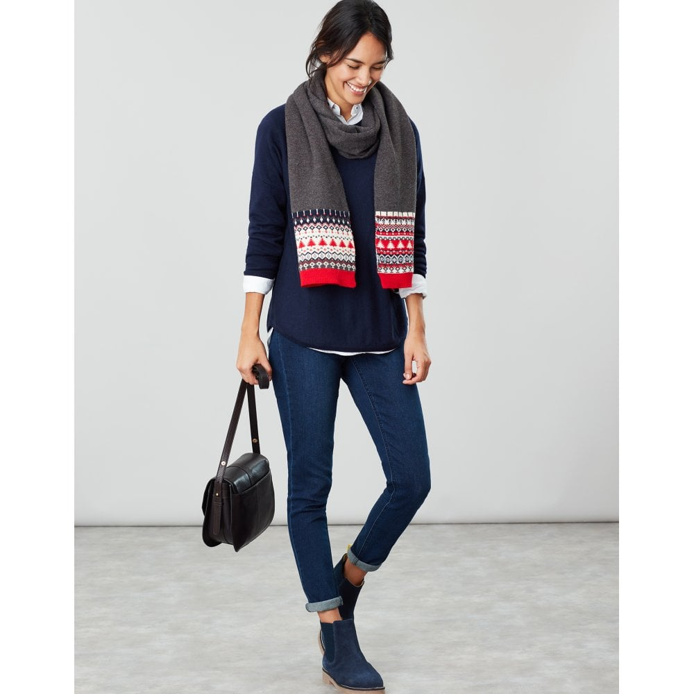 Joules Womens Swirlton Fairisle Knitted Scarf GREY FAIRISLE in One Size