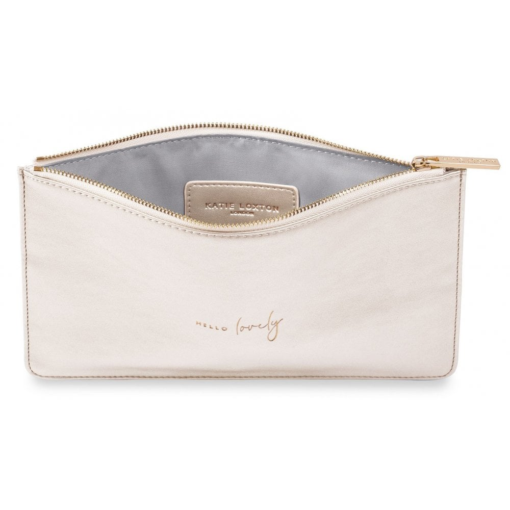 White Katie Loxton Clutch Bag Hello Lovely Pouch
