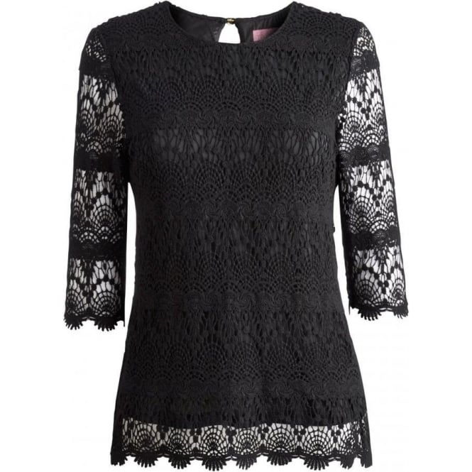 c3ade1ac596473 Joules Women's Lisbeth Lace Top | Cream Lace Overlay Top | Black Lace