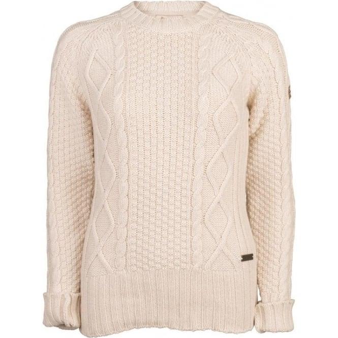 e9b65e3ac47352 Barbour Women's Dolwen Crew Neck Jumper | Cream Cable Knit Sweater