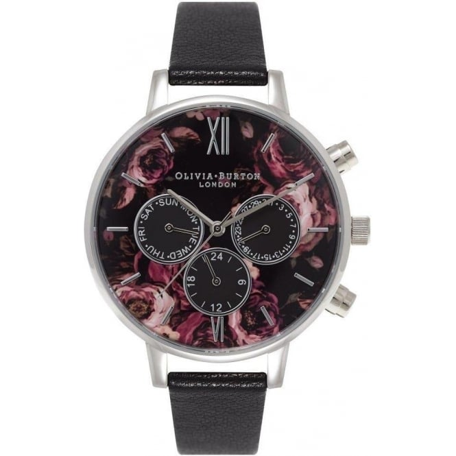 Olivia Burton Painterly Prints Multidial Black and Silver Watch