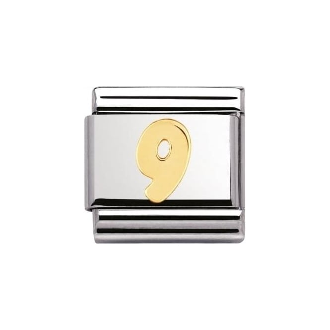 Nomination Composable Classic Number 9 Stainless Steel 18K Gold