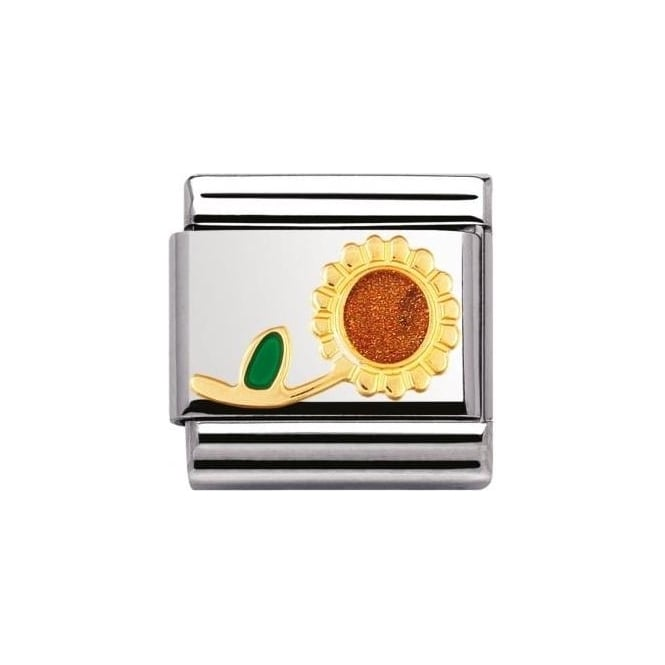 Nomination Composable Classic Nature In S/S Enamel Sunflower With Stem