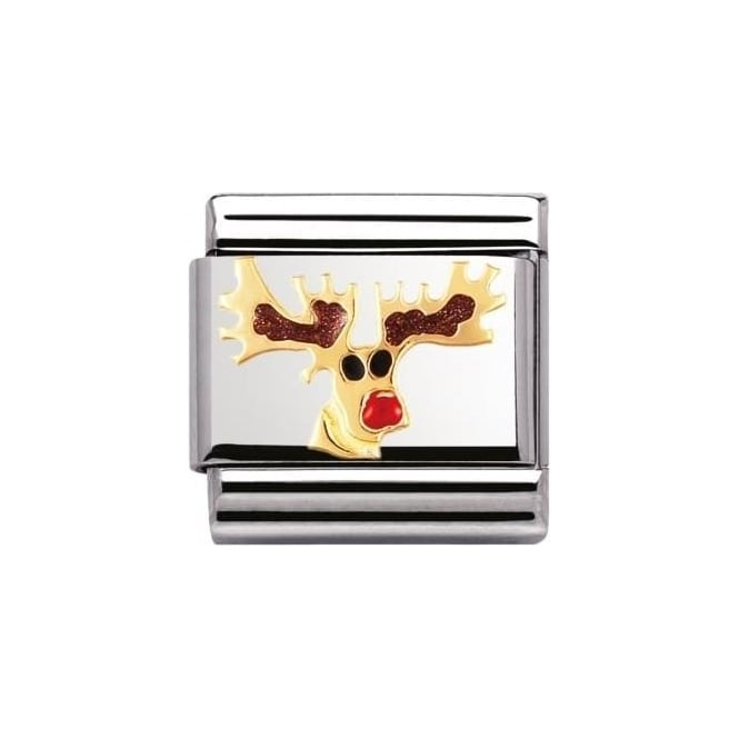 Nomination Composable Classic Christmas Ss, Enamel Gold - Reindeer