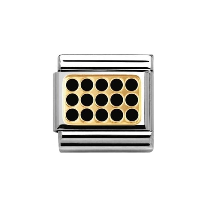 Nomination Composable Classic Elegance Gold Grill With Black Enamel