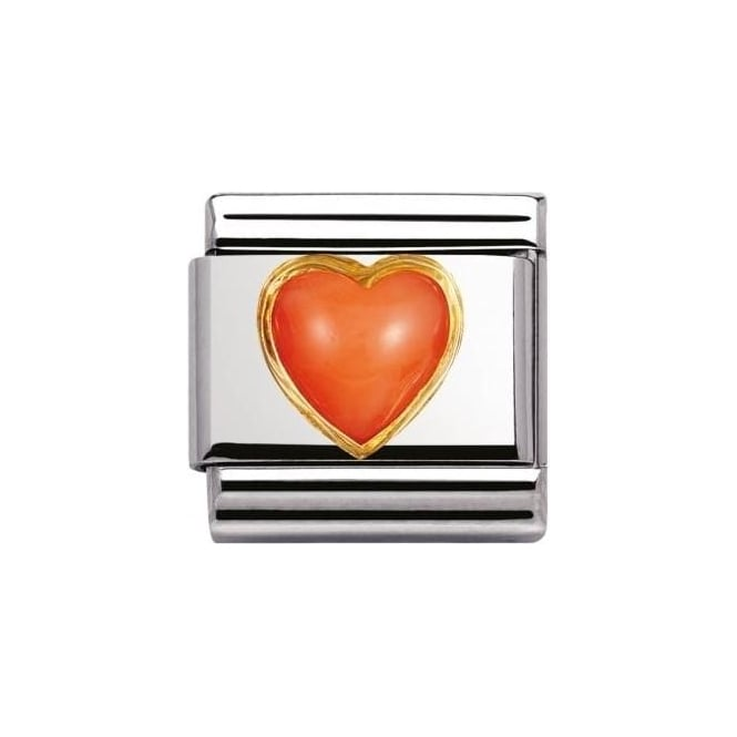 *NOMINATION ITALY Composable Classic Natural Stones Heart Pink Coral
