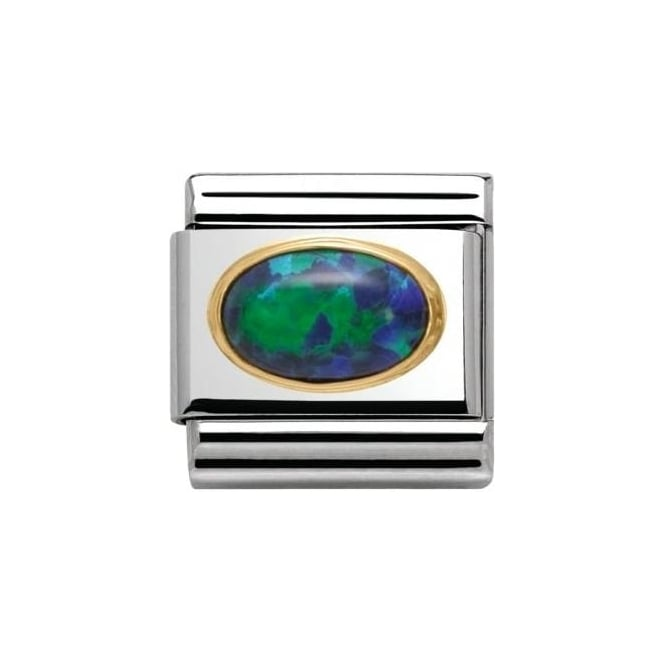 Nomination Green Opal Oval Hard Stone In Stainless Steel And 18K Gold