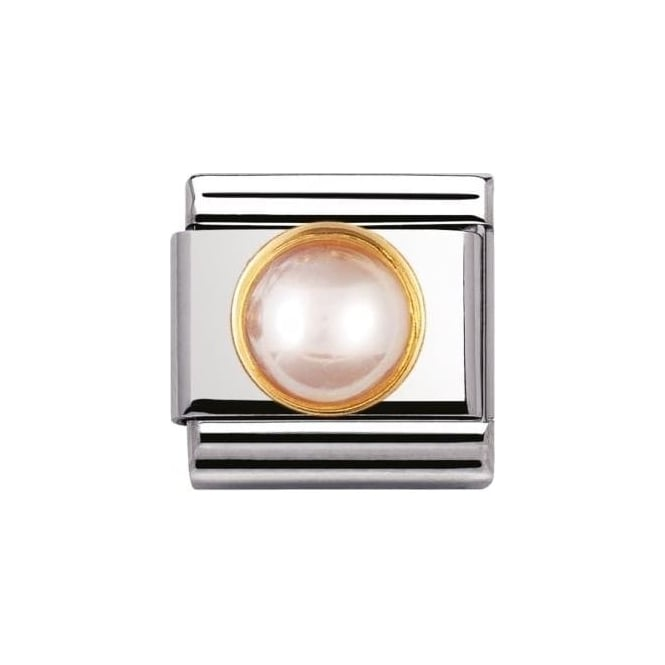 *NOMINATION ITALY Composable Classic Natural Stones Round Pink Pearl
