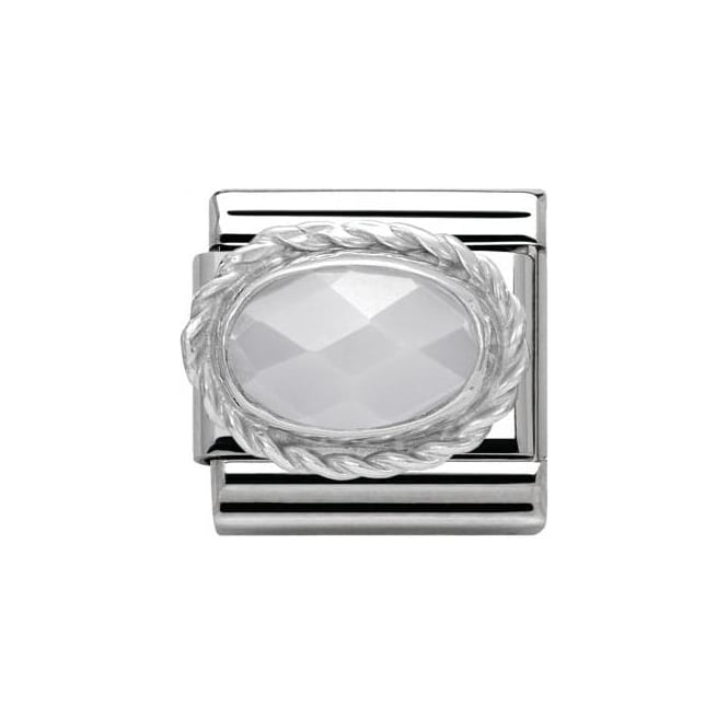 Nomination Faceted White Jade - Classic Hard Stones Stainless Steel, Rich S