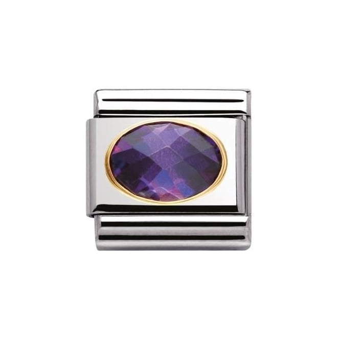 Nomination Composable Classic Faceted Cz In Ss , Gold - Purple