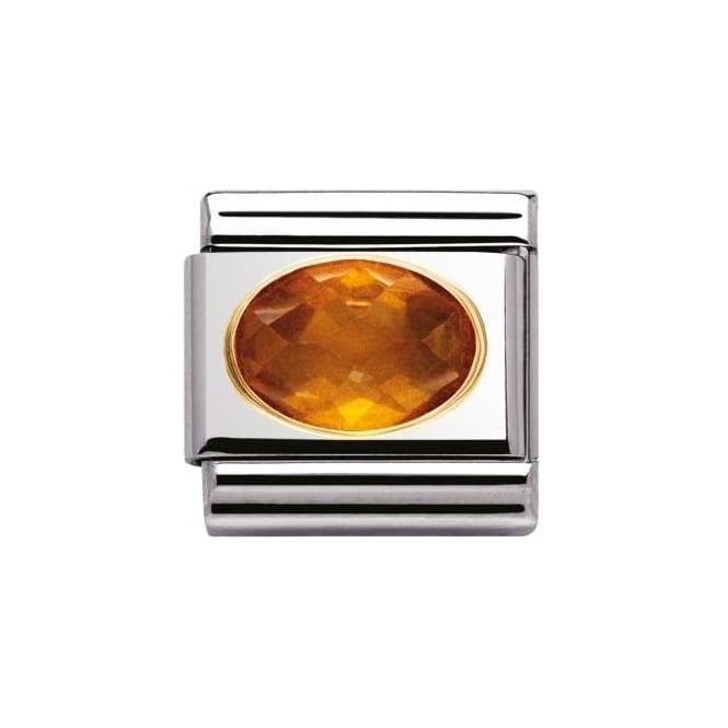 Nomination Composable Classic Faceted Cz In Ss , Gold - Orange
