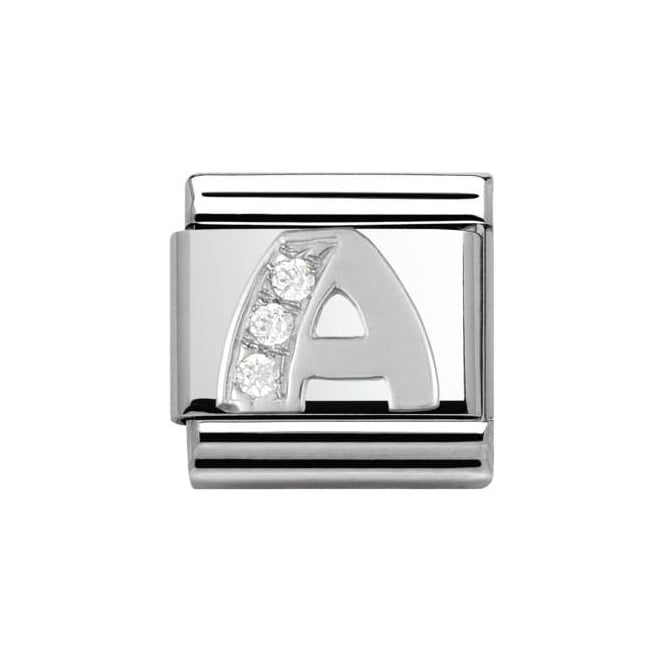 Nomination Composable Classic Alphabet Cubic Zirconia And 925 Silver (A)