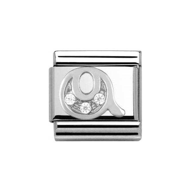Nomination Composable Classic Alphabet Cubic Zirconia And 925 Silver (Q)