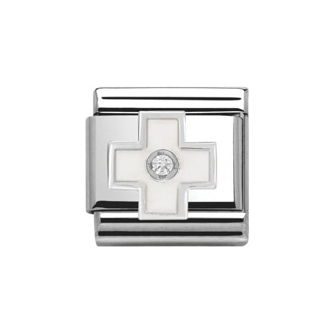 Nomination Composable Classics Symbols Cubic Zirconia (White Cross)
