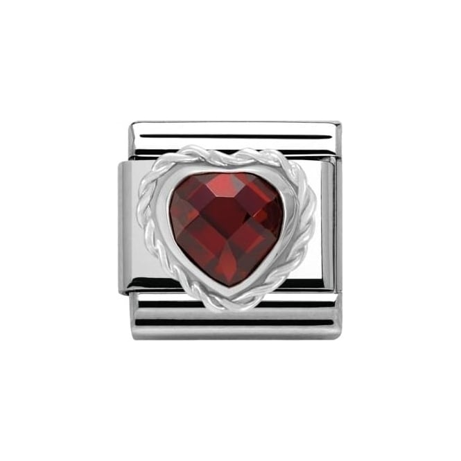 Nomination Red Cl Heart Faceted Cz