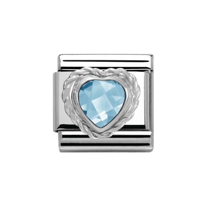 Nomination Composable Classic Link Heart Faceted Cz Light Blue (330603/006)