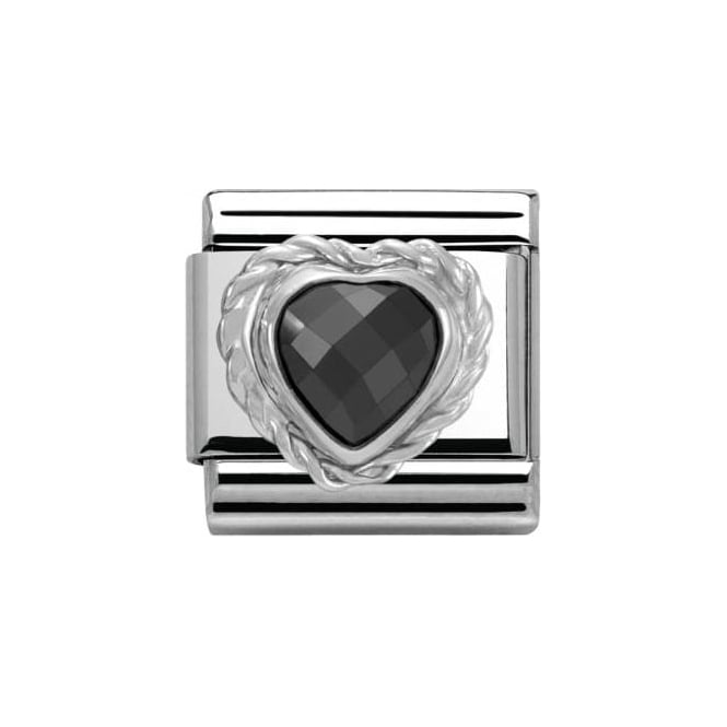 *NOMINATION ITALY Black Cl Heart Faceted Cz