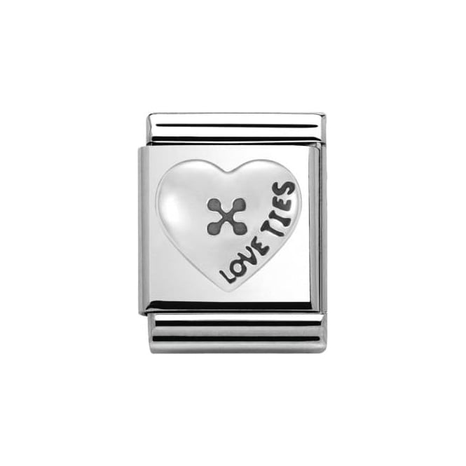 Nomination Composable Big Link Oxidized Heart Button (332104/01)