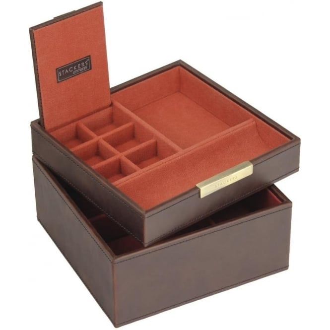 Stackers Set of 2 Vintage Brown Square Valet and Watch Box 73215