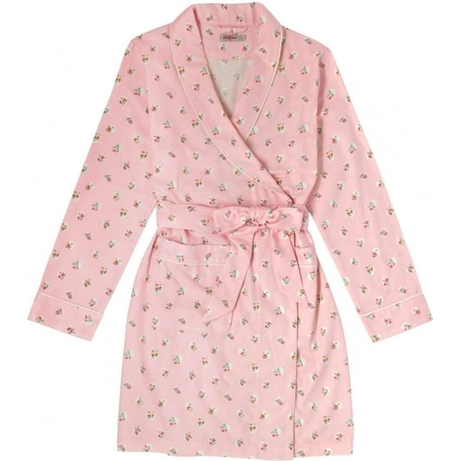 Cath Kidston Flannel Short Dressing Gown Floral Spot Pale Pink 609456