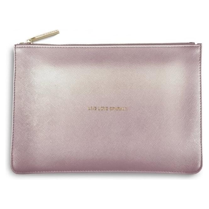 Katie Loxton Live Love Sparkle Perfect Pouch in Metalic Pink