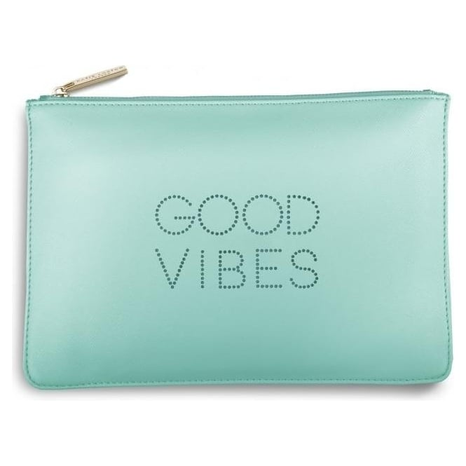 Katie Loxton Good Vibes Polka Dot Pouch in Pale Mint