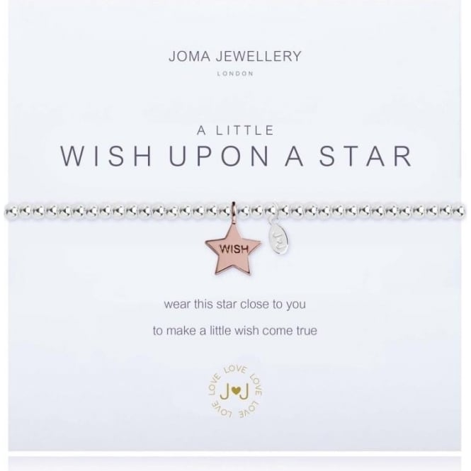 Joma Jewellery A Little Wish Upon A Star - Bracelet - Silver Balls With Rose Gold Star Charm