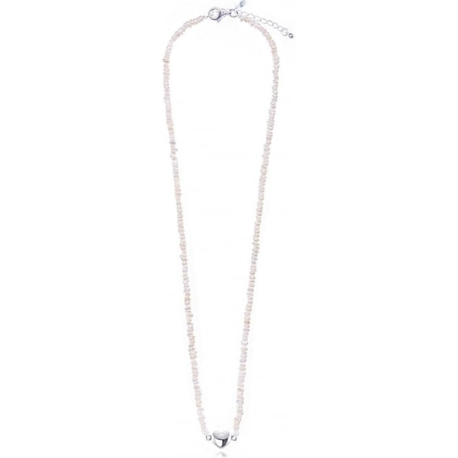 Joma Jewellery Penelope Necklace - White Tiny Pearl Silver Heart Necklace - Silver