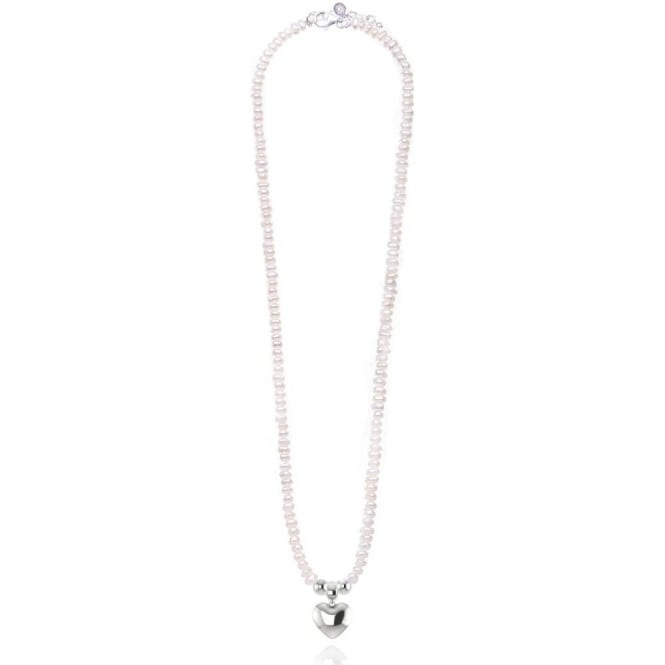 Joma Jewellery Fearne Necklace - White Pearl Necklace With Chubby Silver Heart Pendant - Silver