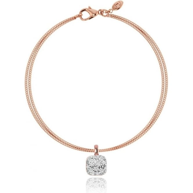 Joma Jewellery Penelope - Bracelet - Silver And Rose Gold Double Strand With Cushion Shape Pave
