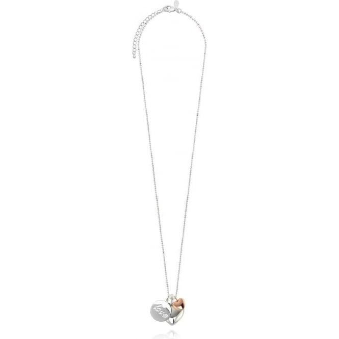 Joma Jewellery Three Love Charm Long Facetted Ball Chain Necklace - Silver & Rose Gold