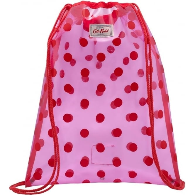 color brilliancy Good Prices wholesale sales Kids PVC Drawstring Bag Button Spot Pink Red