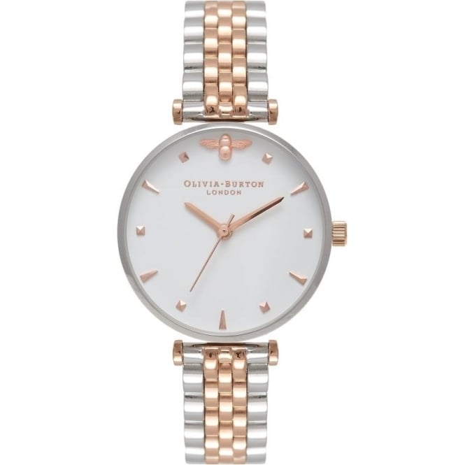 Olivia Burton Silver & Rose Gold Queen Bee Watch