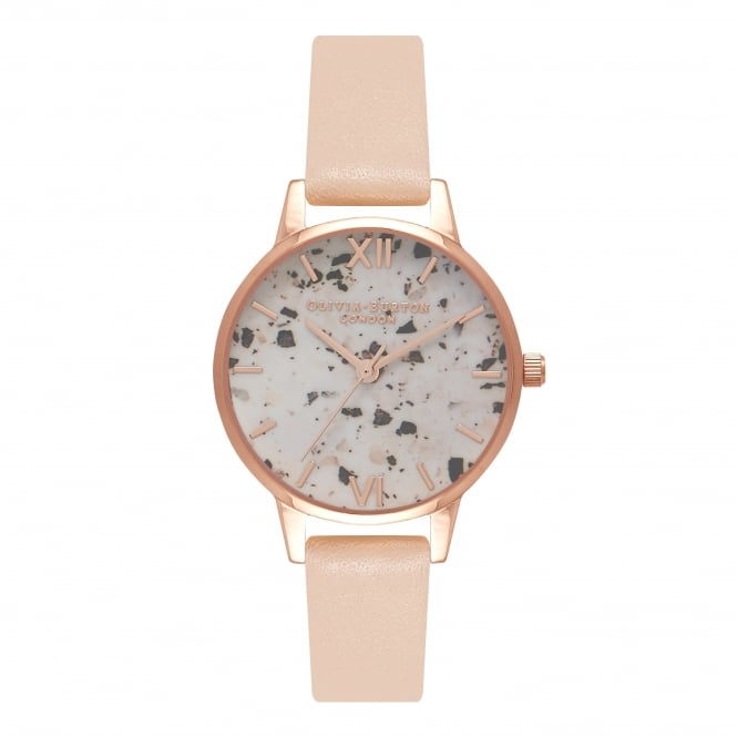 Olivia Burton Vintage Marble Nude Peach And Rose Gold Watch