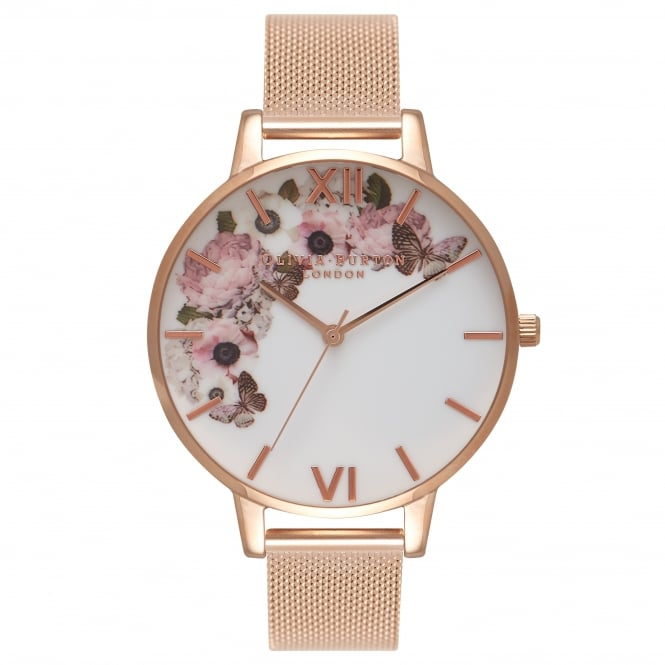 Olivia Burton Winter Garden Rose Gold Mesh Watch