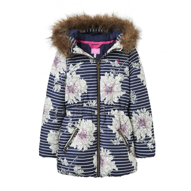 Joules Girls Printed Belmont Puffa Jacket