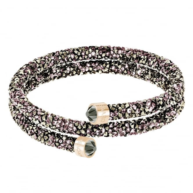 Swarovski Crystaldust Double Bangle in Violet and Rose Gold Plate (M)