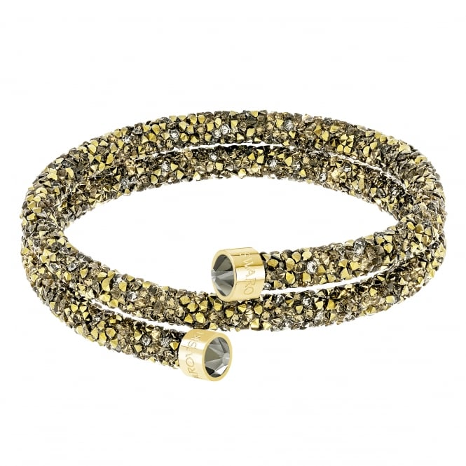 Swarovski Crystaldust Double Bangle in Golden Brown and Gold Plate (M)