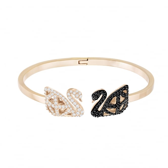 Swarovski Facet Swan Bangle in Jet and Crystal (S)