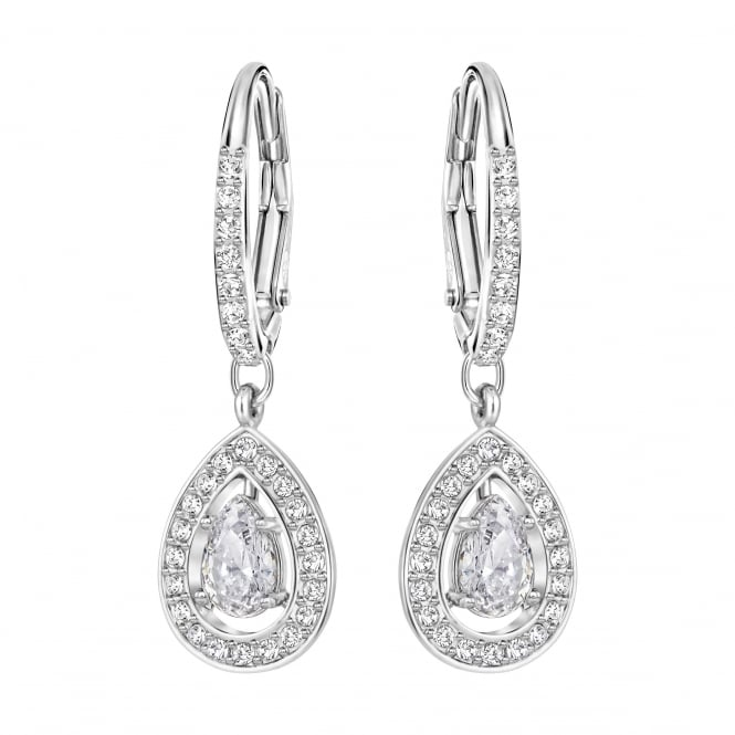 Swarovski Attract Light Pierced Pear Drop Earrings in Crystal and Rhodium Plate