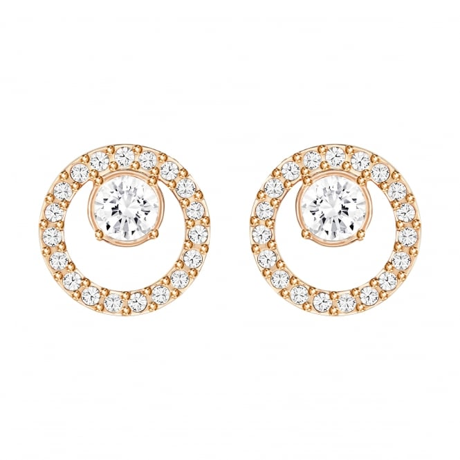 Swarovski Creativity Small Circle Pierced Earrings in Crystal and Rose Gold Plate