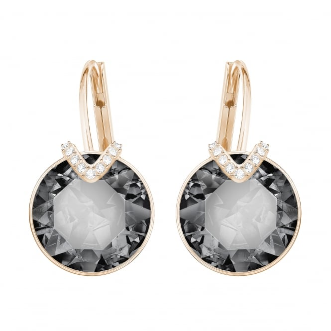 Swarovski Bella Large Pierced Earrings in Rose Gold and Grey